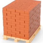 3D Render of bricks stacked on EPAL Stamped Euro Pallets